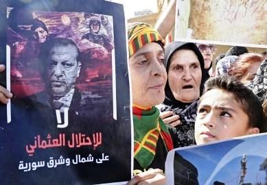 من المظاهرة الكردية ضد تركيا في العاصمة اللبنانية بيروت أمس / أ.ف.ب