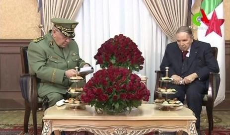 قائد الجيش الجزائري خلال إحدى لقاءاته بالرئيس بوتفليقة (أ ف ب)