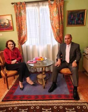 السفير الفلسطيني مع مريم داداه ارملة الرئيس المؤسس المختار داداه