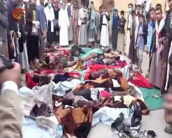 عدد من ضحايا مجزرة القصف السعودي لسوق بمدينة صعدة اليمينة
